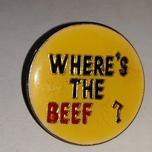 Vintage WHERE'S THE BEEF Pin Brooch